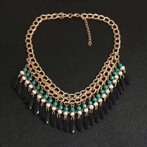 Black green combination choker necklace for women